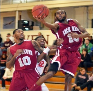 Photo courtesy of Sports Information.Hepburn (right) became only the sixth Bald Eagle player in school history to score 40 points in a game.