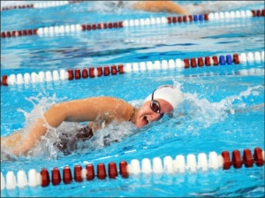 Photo courtesy of Sports Information.Rehrig lead her team to victory with wins in both the 50 and 100-yard freestyle races.