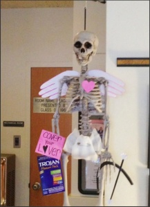 Photo Courtesy of Jessica Joseph. Fred, the infirmary mascot, stands to stop the spread of STDs.